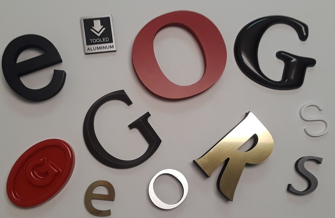 Routed,  Laser Cut,  Flat Cut Metal, Formed/Plastic, Laminated, Letters & Logos.